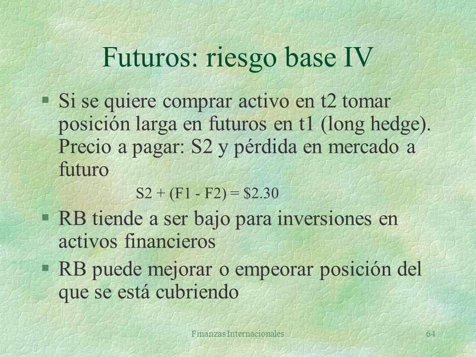 Futuros: riesgo base IV