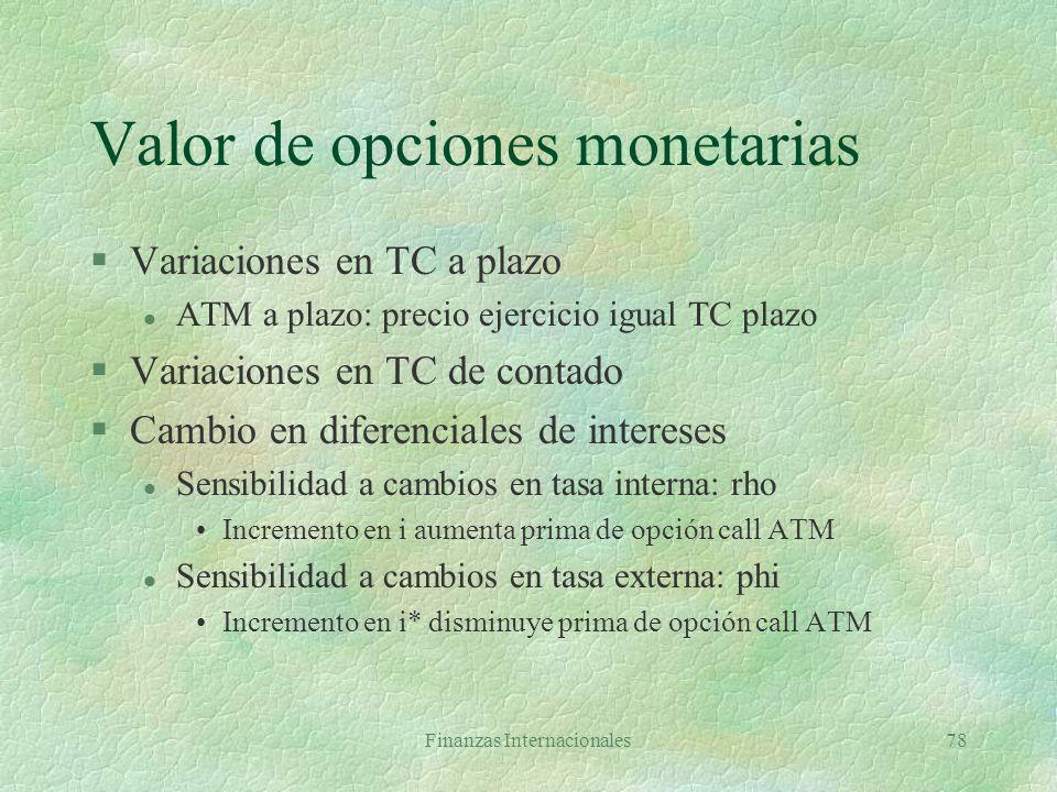 Valor de opciones monetarias