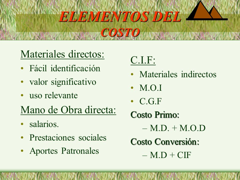 ELEMENTOS DEL COSTO Materiales directos: C.I.F: Mano de Obra directa:
