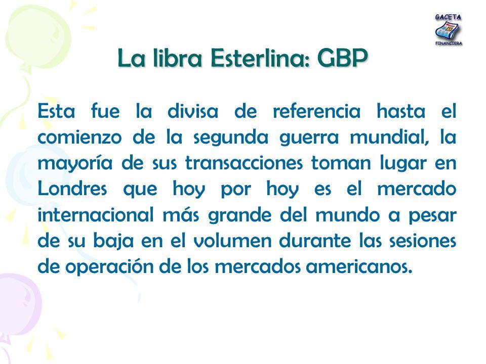 La libra Esterlina: GBP
