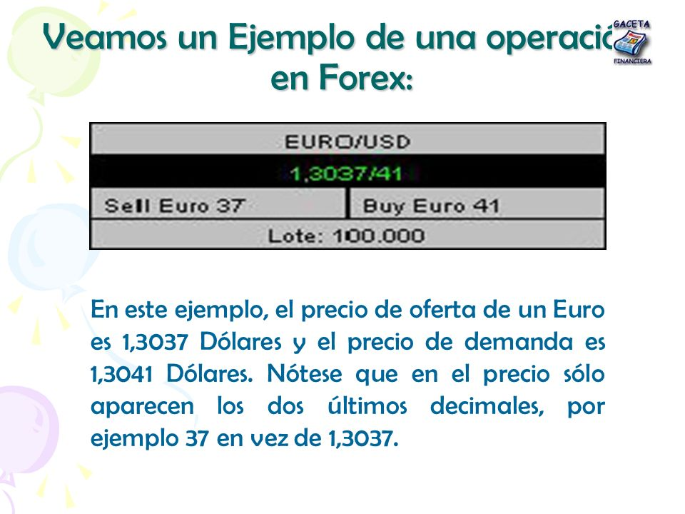 Veamos un Ejemplo de una operación en Forex: