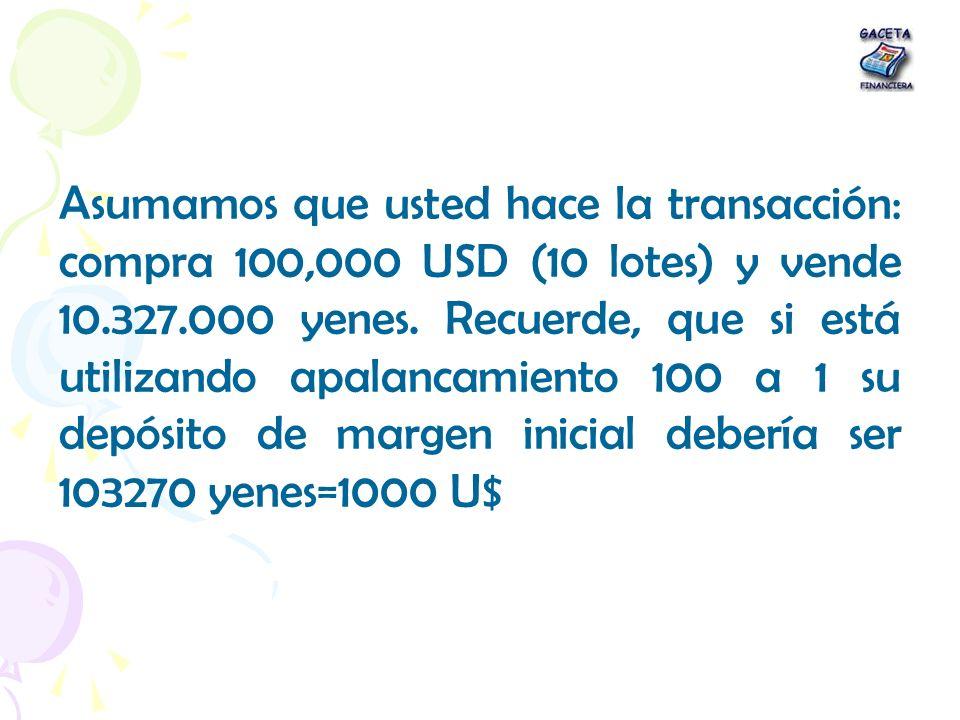 Asumamos que usted hace la transacción: compra 100,000 USD (10 lotes) y vende 10.327.000 yenes.