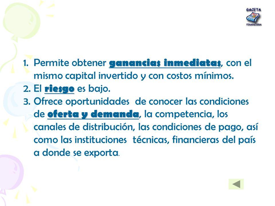 Permite obtener ganancias inmediatas, con el mismo capital invertido y con costos mínimos.