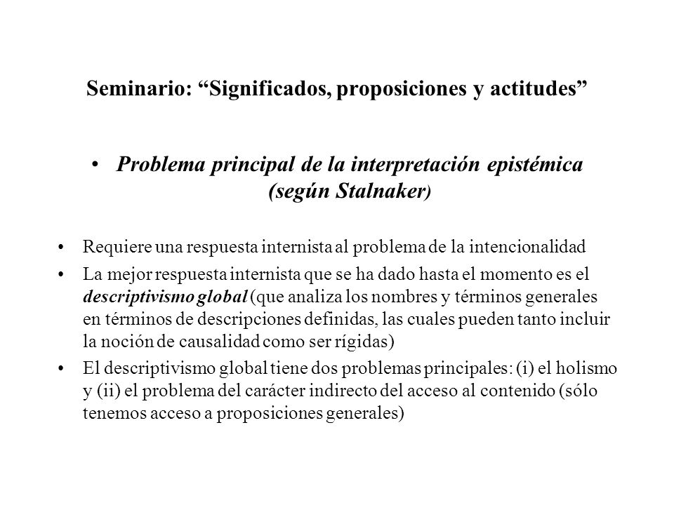 Seminario: Significados, proposiciones y actitudes