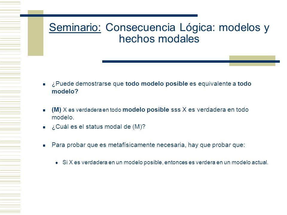 Seminario: Consecuencia Lógica: modelos y hechos modales