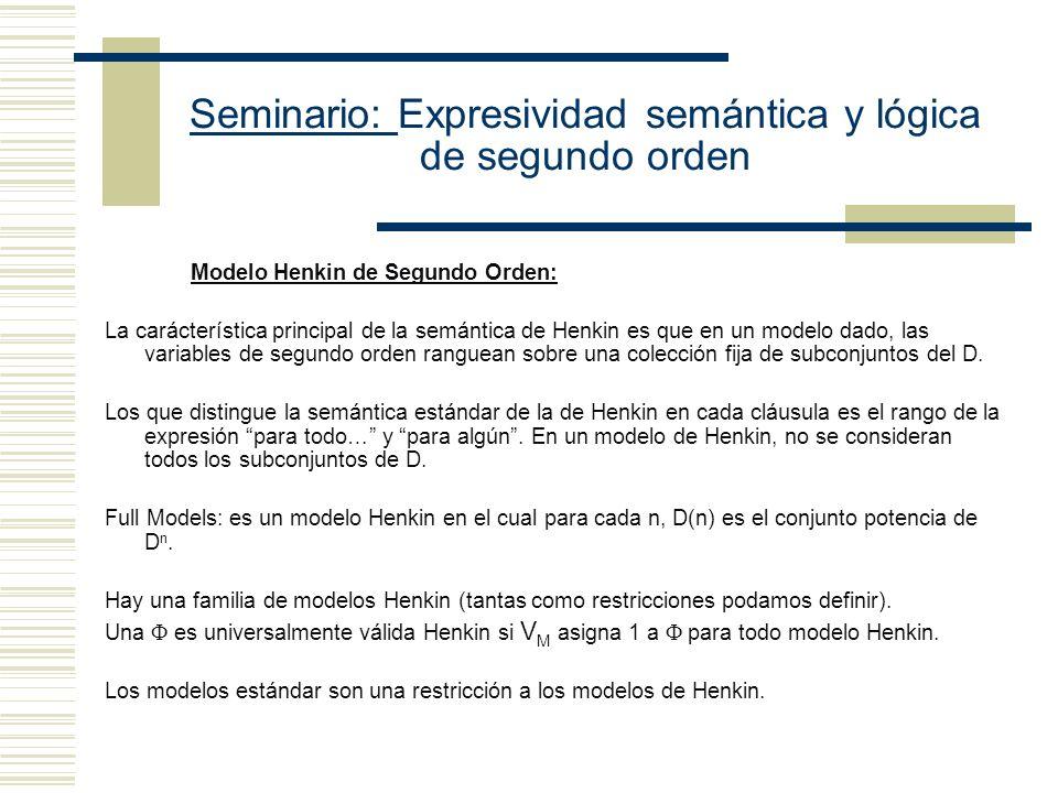 Seminario: Expresividad semántica y lógica de segundo orden
