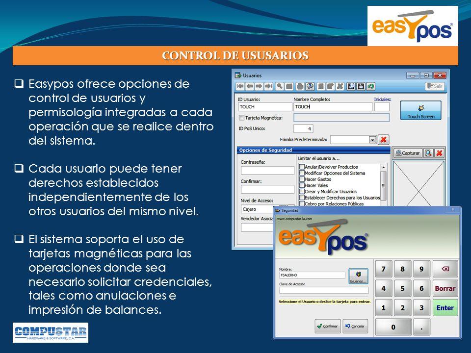 CONTROL DE USUSARIOS Easypos ofrece opciones de control de usuarios y permisología integradas a cada operación que se realice dentro del sistema.