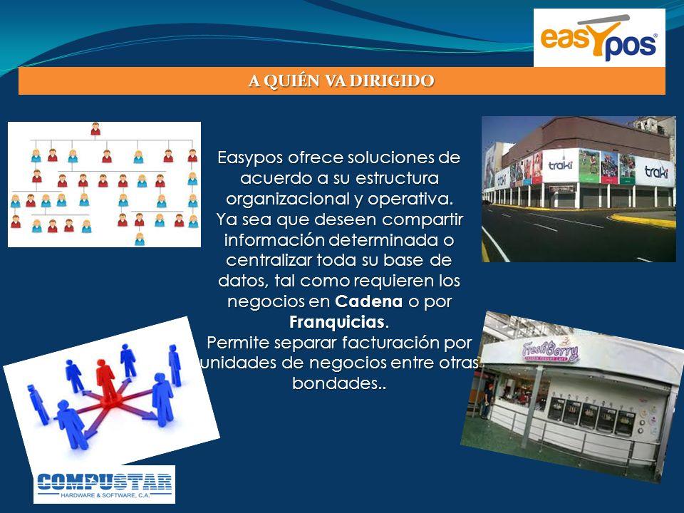 A QUIÉN VA DIRIGIDO Easypos ofrece soluciones de acuerdo a su estructura organizacional y operativa.