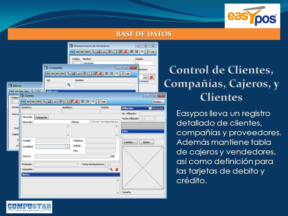 Control de Clientes, Compañías, Cajeros, y Clientes