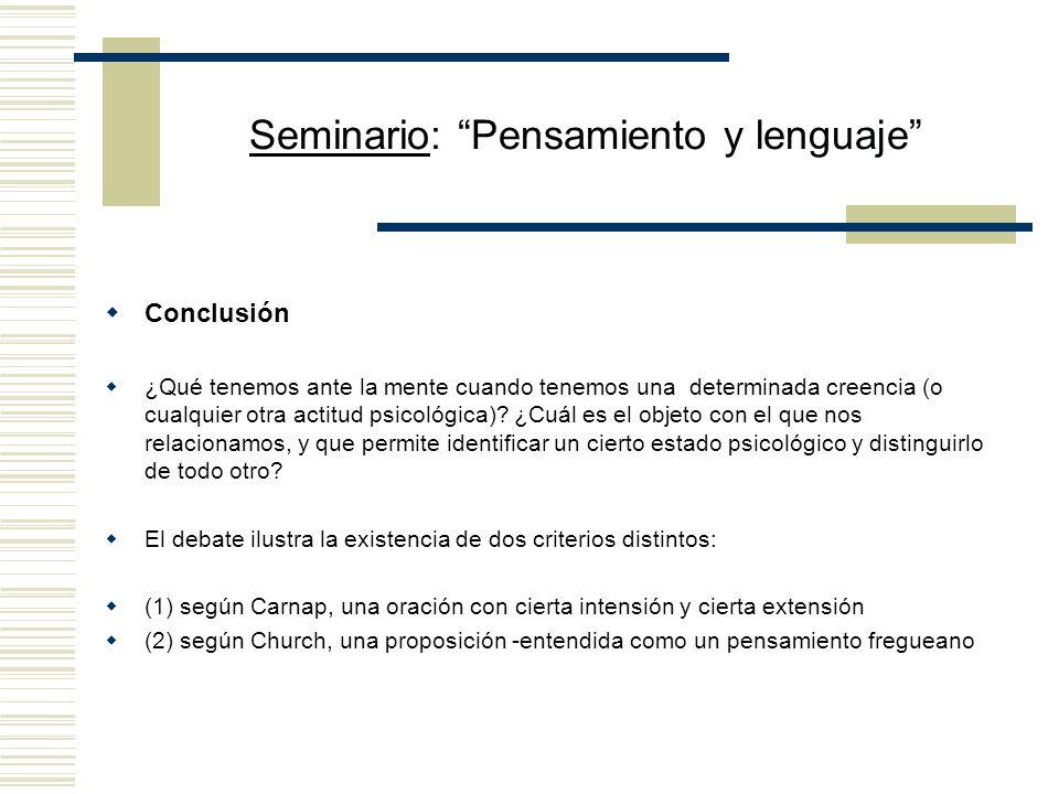 Seminario: Pensamiento y lenguaje