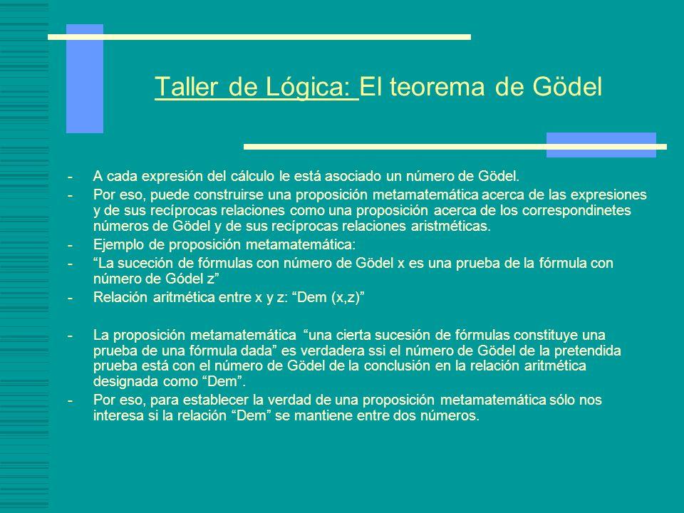 Taller de Lógica: El teorema de Gödel