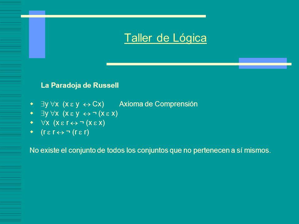 Taller de Lógica $y x (x  y  Cx) Axioma de Comprensión