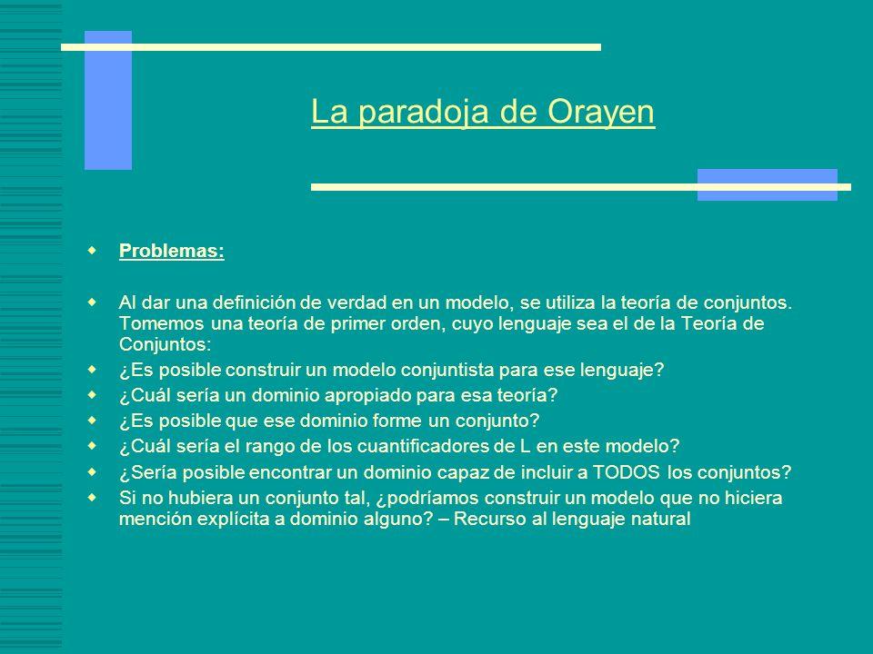 La paradoja de Orayen Problemas: