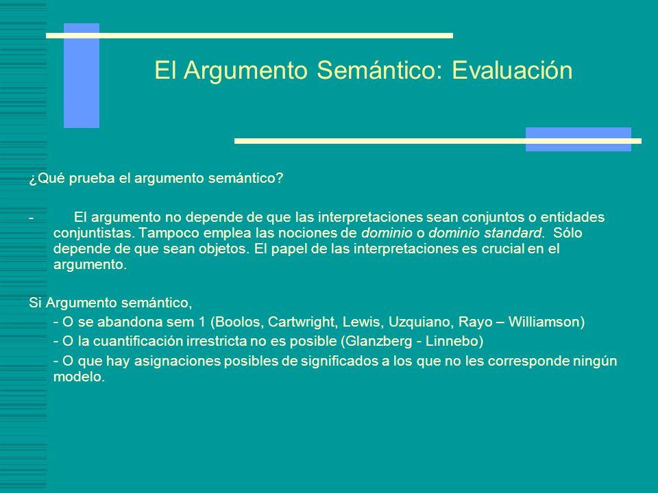 El Argumento Semántico: Evaluación