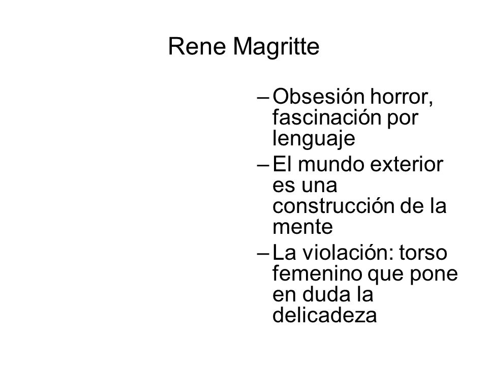 Rene Magritte Obsesión horror, fascinación por lenguaje
