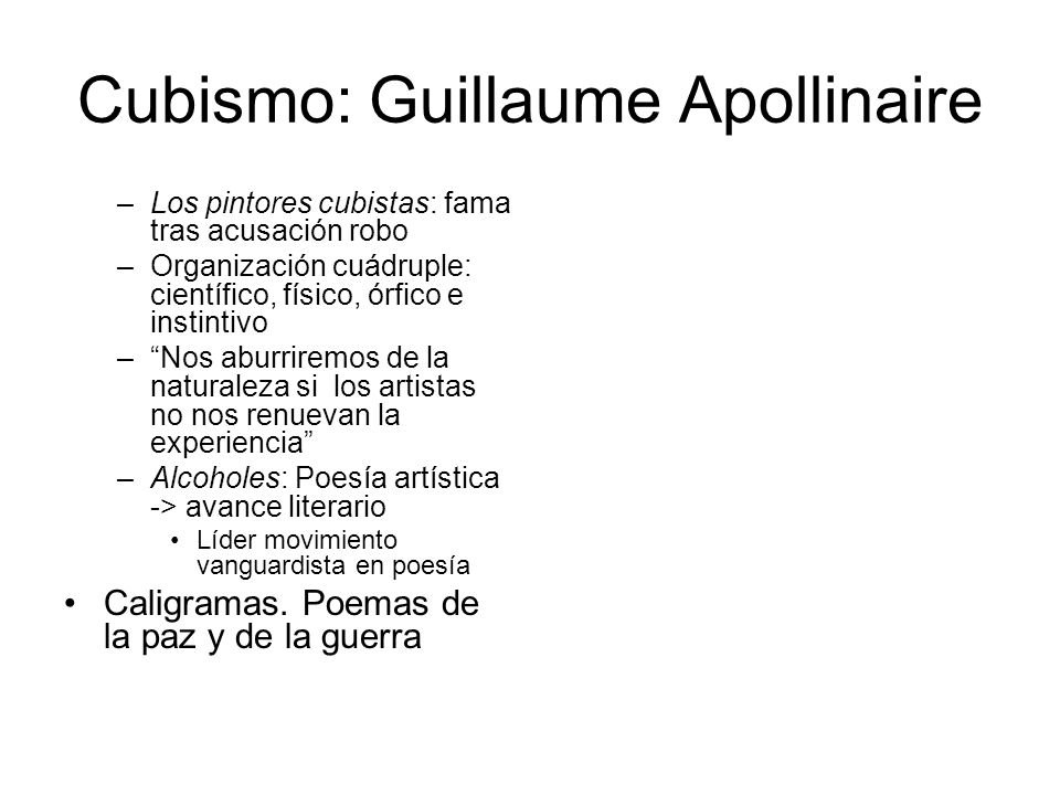 Cubismo: Guillaume Apollinaire