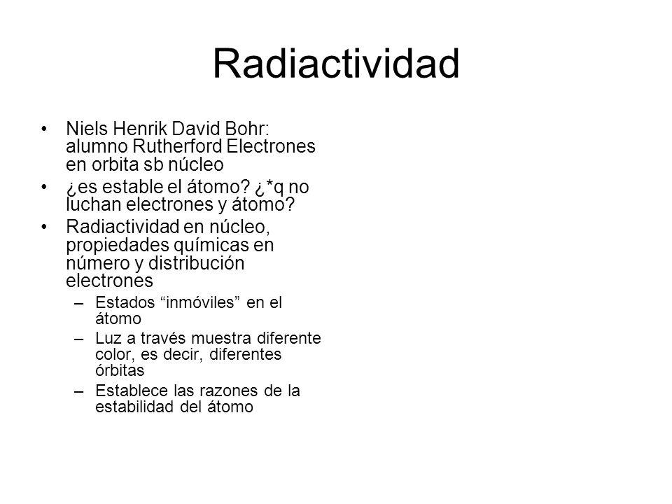 Radiactividad Niels Henrik David Bohr: alumno Rutherford Electrones en orbita sb núcleo. ¿es estable el átomo ¿*q no luchan electrones y átomo