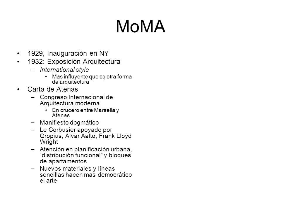 MoMA 1929, Inauguración en NY 1932: Exposición Arquitectura