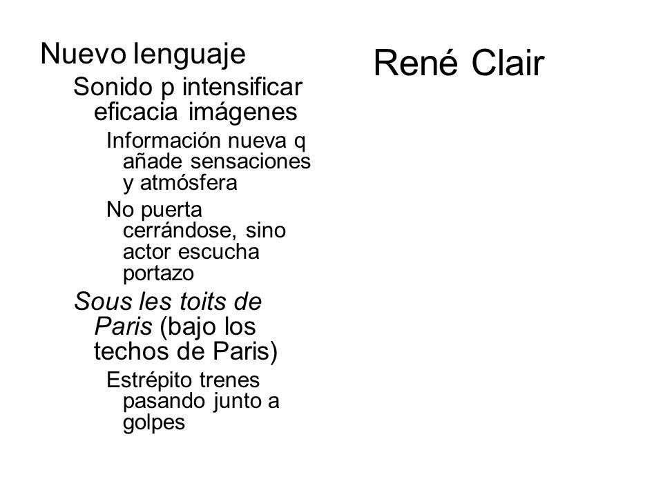 René Clair Nuevo lenguaje Sonido p intensificar eficacia imágenes