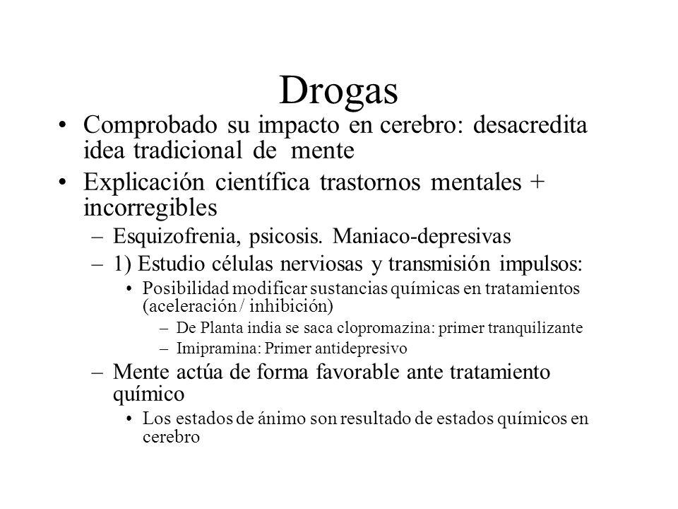 Drogas Comprobado su impacto en cerebro: desacredita idea tradicional de mente. Explicación científica trastornos mentales + incorregibles.