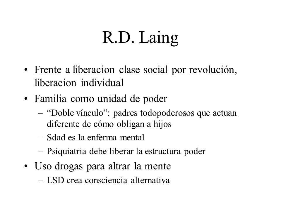 R.D. Laing Frente a liberacion clase social por revolución, liberacion individual. Familia como unidad de poder.