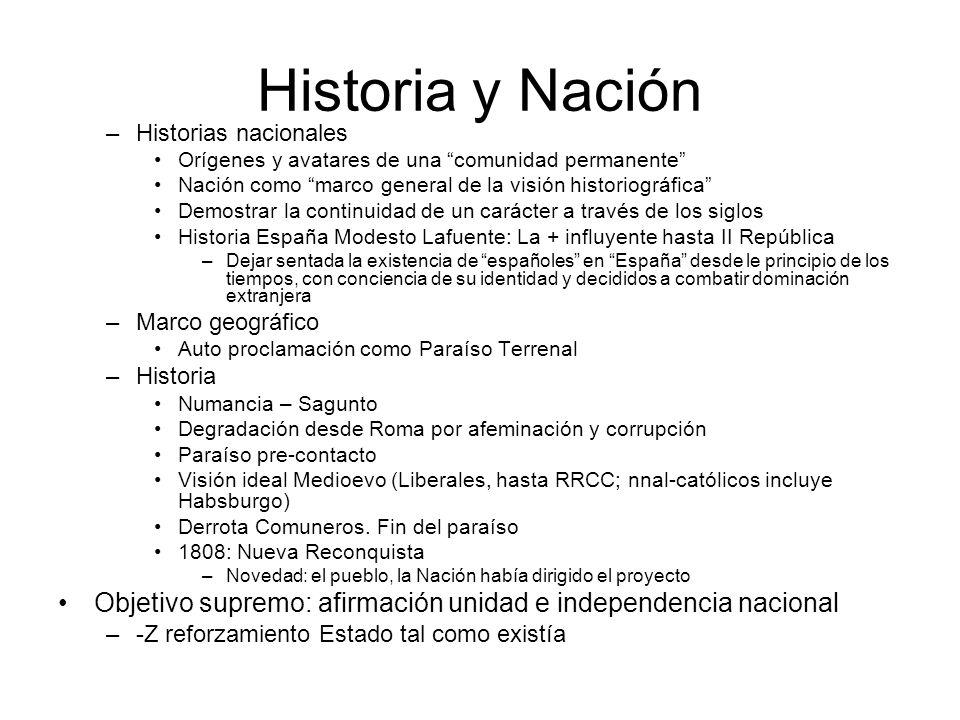 Historia y Nación Historias nacionales. Orígenes y avatares de una comunidad permanente Nación como marco general de la visión historiográfica