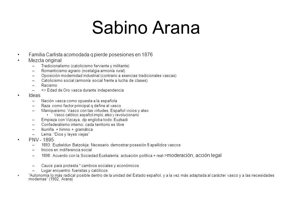 Sabino Arana Familia Carlista acomodada q pierde posesiones en 1876