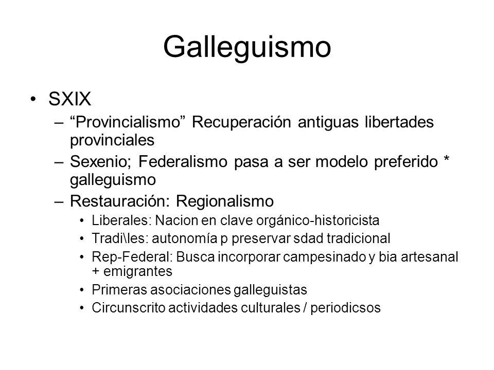 Galleguismo SXIX. Provincialismo Recuperación antiguas libertades provinciales. Sexenio; Federalismo pasa a ser modelo preferido * galleguismo.