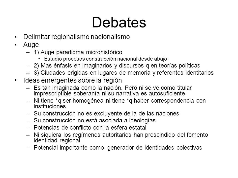 Debates Delimitar regionalismo nacionalismo Auge