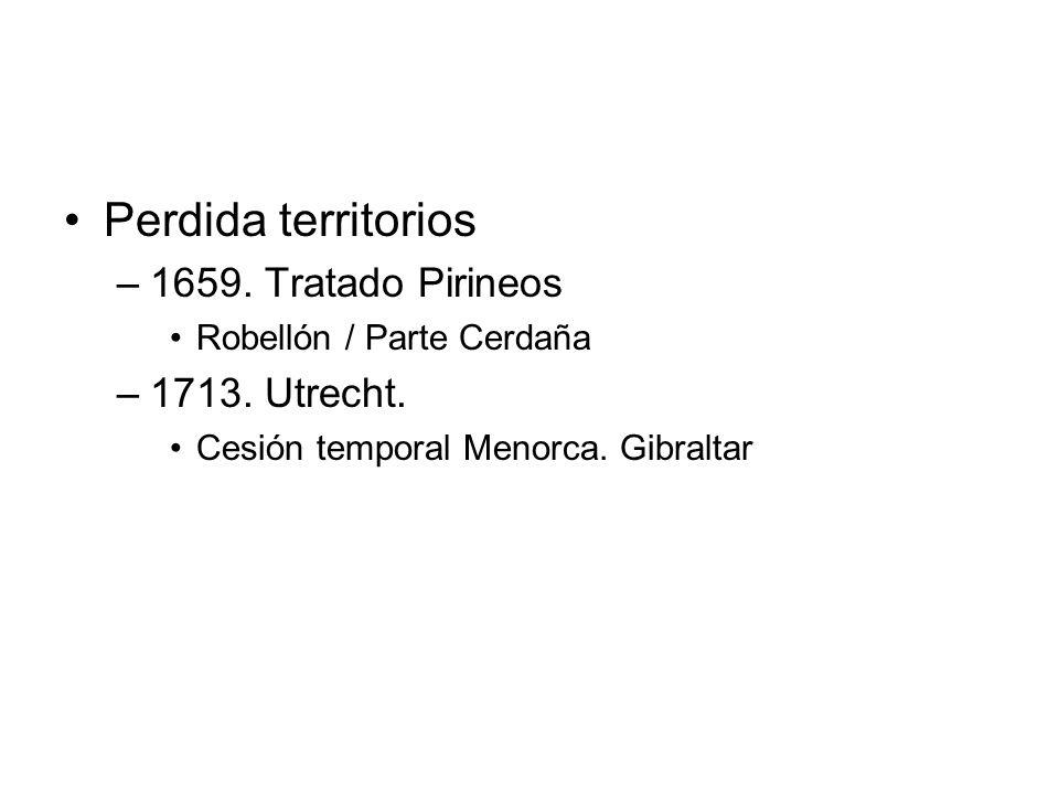 Perdida territorios 1659. Tratado Pirineos 1713. Utrecht.