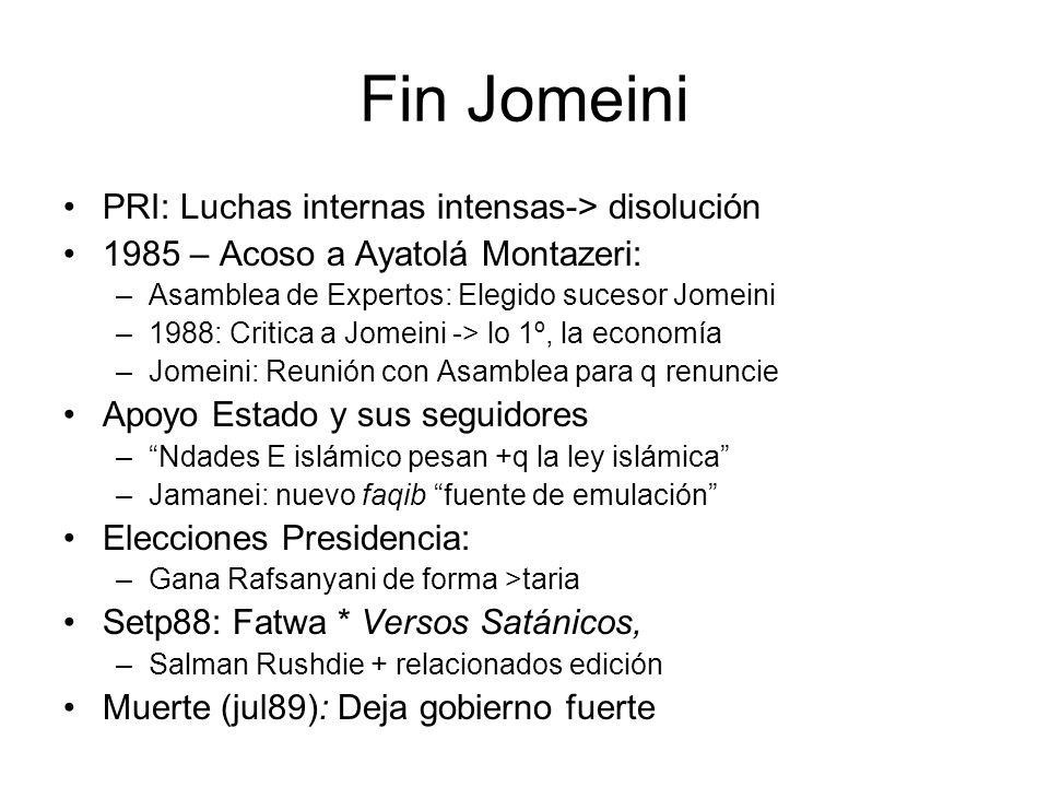 Fin Jomeini PRI: Luchas internas intensas-> disolución