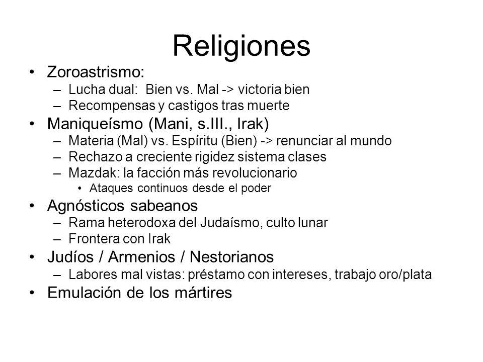 Religiones Zoroastrismo: Maniqueísmo (Mani, s.III., Irak)