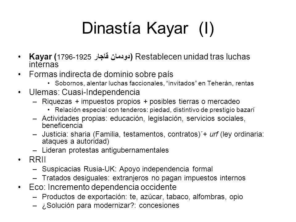 Dinastía Kayar (I) Kayar (1796-1925 دودمان قاجار) Restablecen unidad tras luchas internas. Formas indirecta de dominio sobre país.