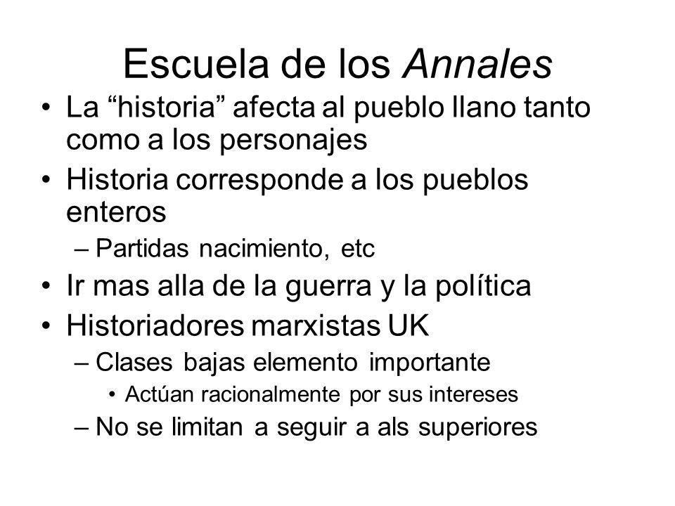Escuela de los Annales La historia afecta al pueblo llano tanto como a los personajes. Historia corresponde a los pueblos enteros.
