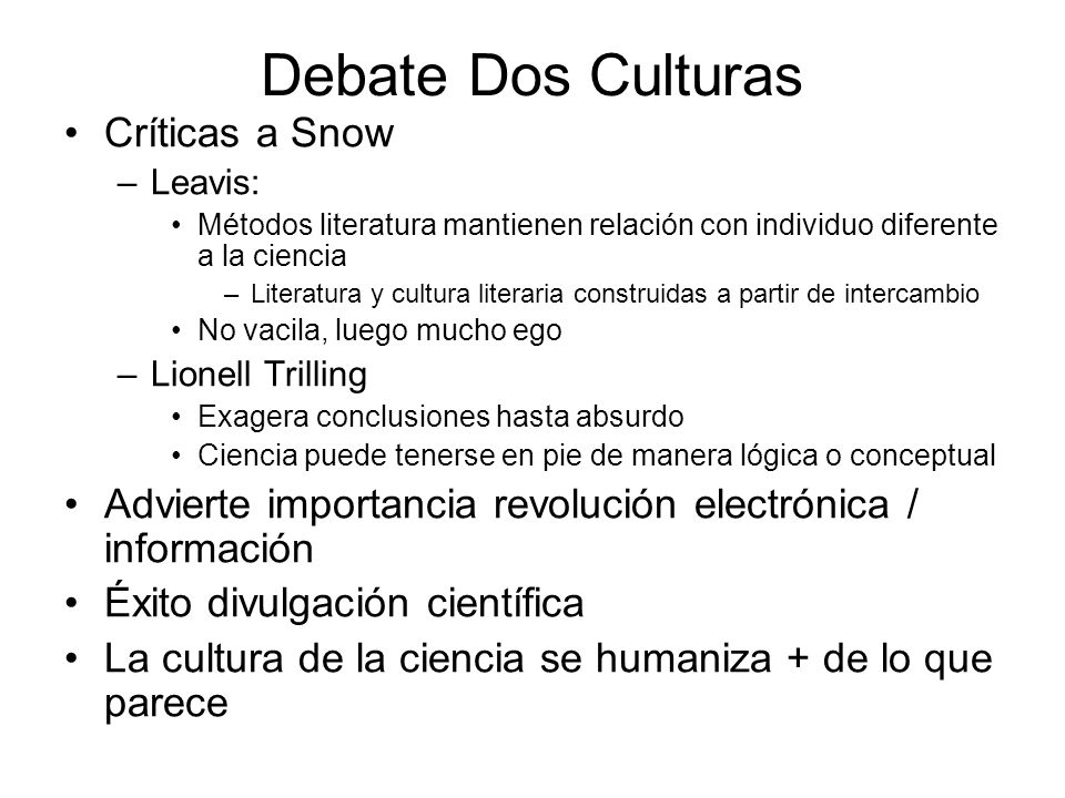 Debate Dos Culturas Críticas a Snow