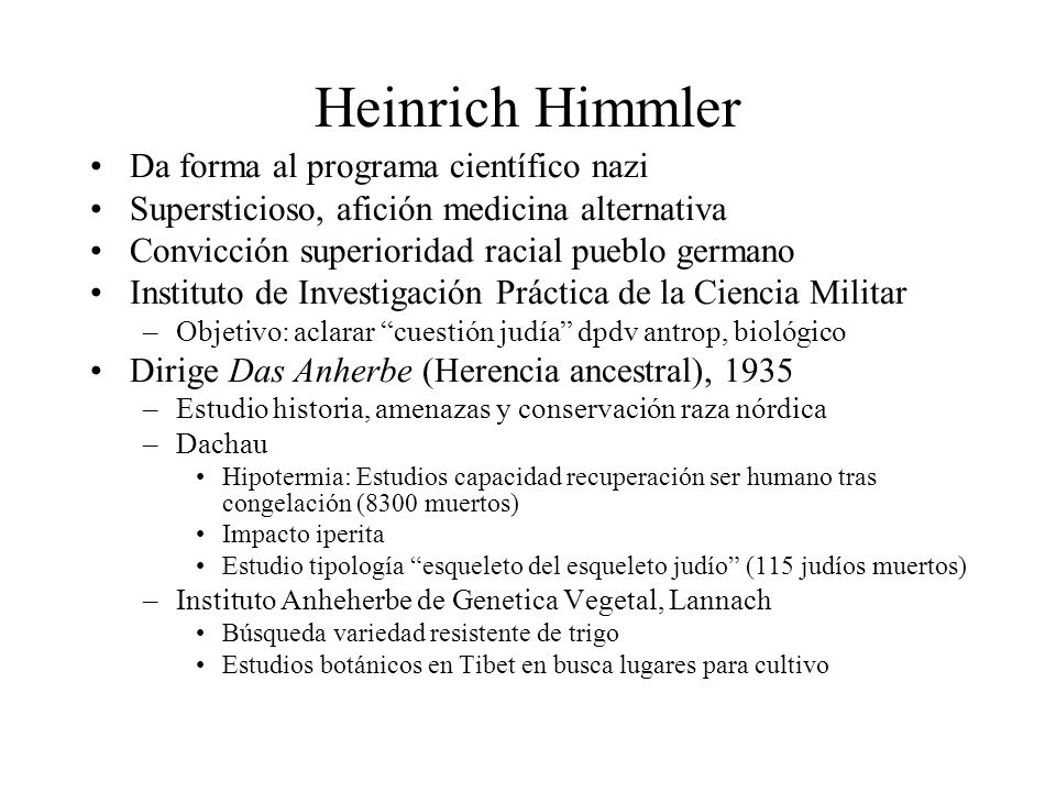 Heinrich Himmler Da forma al programa científico nazi