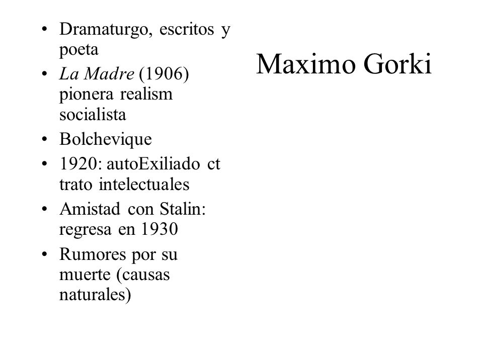 Maximo Gorki Dramaturgo, escritos y poeta