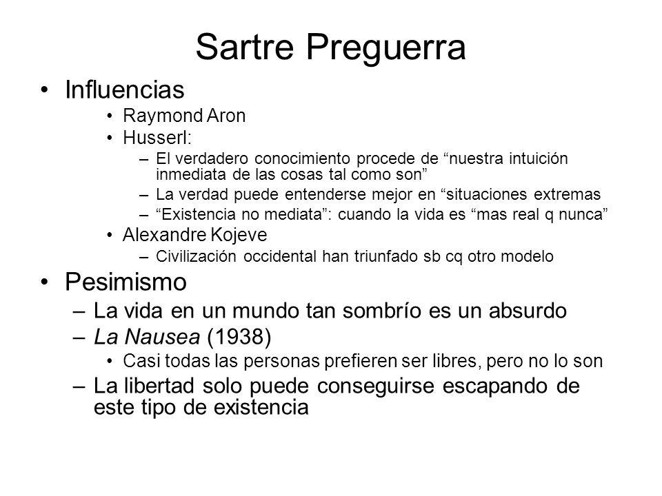 Sartre Preguerra Influencias Pesimismo