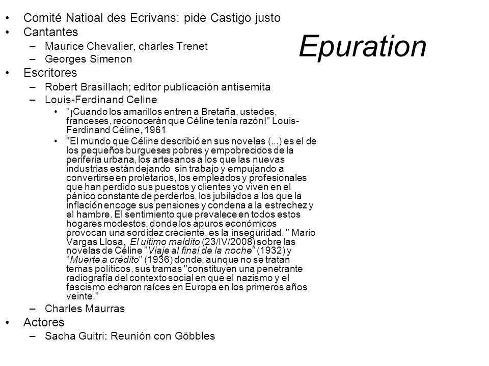 Epuration Comité Natioal des Ecrivans: pide Castigo justo Cantantes