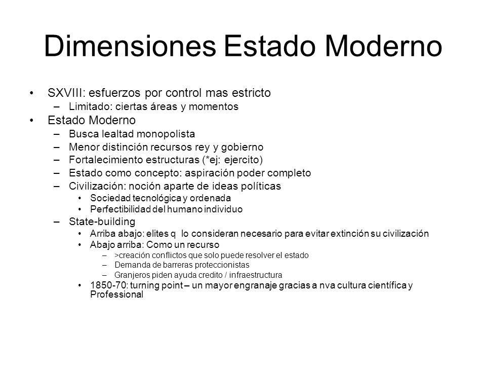 Dimensiones Estado Moderno
