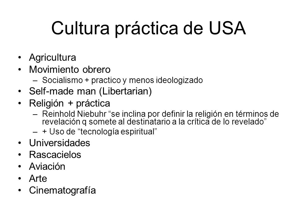 Cultura práctica de USA