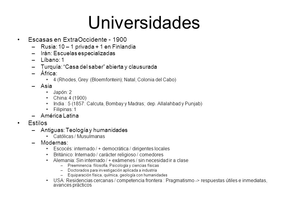 Universidades Escasas en ExtraOccidente Estilos
