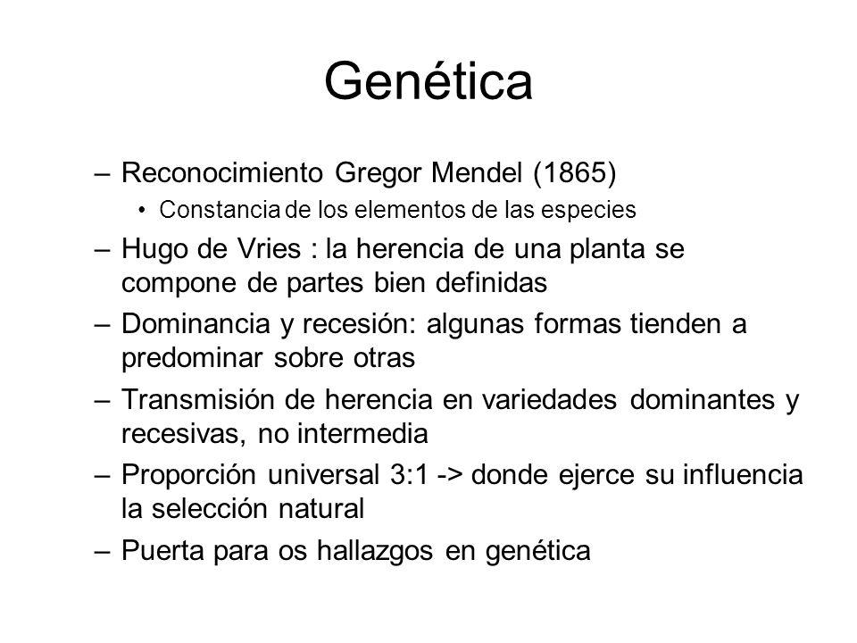 Genética Reconocimiento Gregor Mendel (1865)