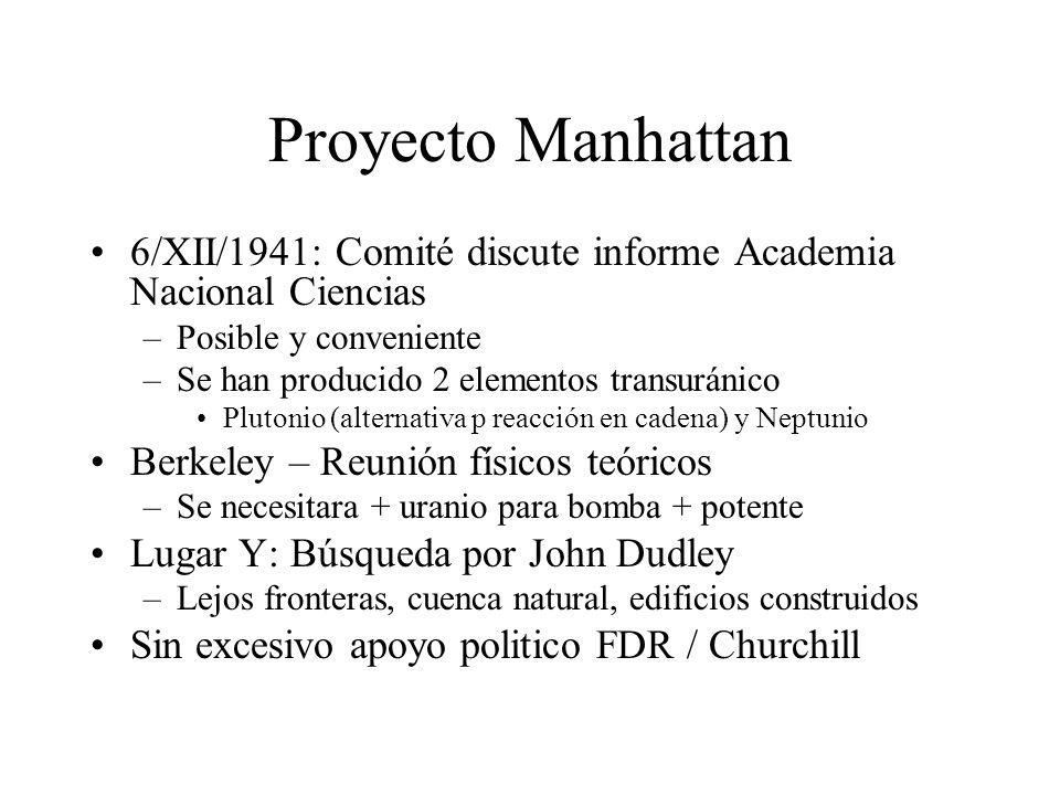 Proyecto Manhattan 6/XII/1941: Comité discute informe Academia Nacional Ciencias. Posible y conveniente.