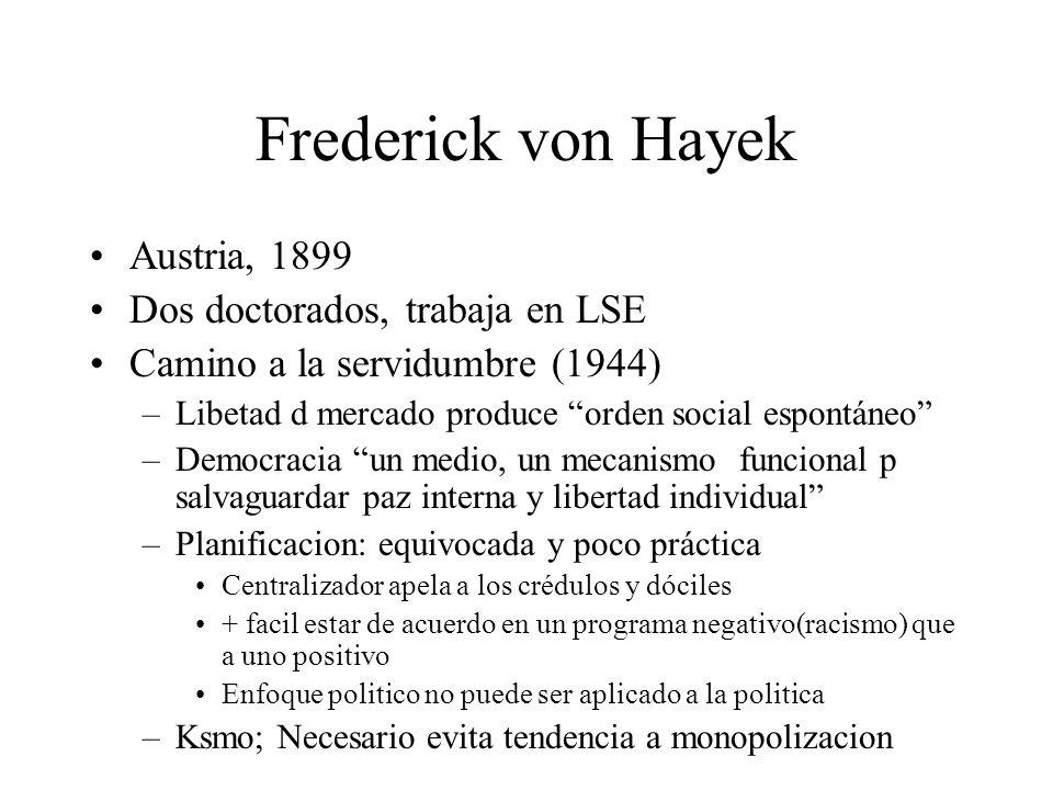 Frederick von Hayek Austria, 1899 Dos doctorados, trabaja en LSE