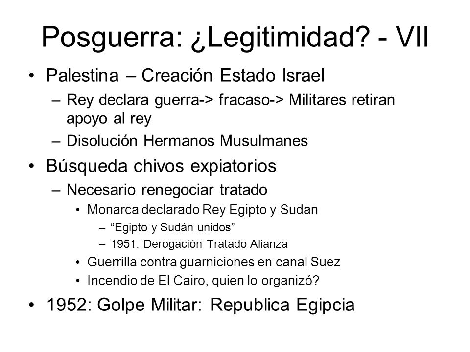 Posguerra: ¿Legitimidad - VII