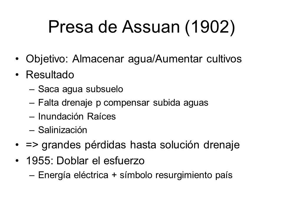 Presa de Assuan (1902) Objetivo: Almacenar agua/Aumentar cultivos