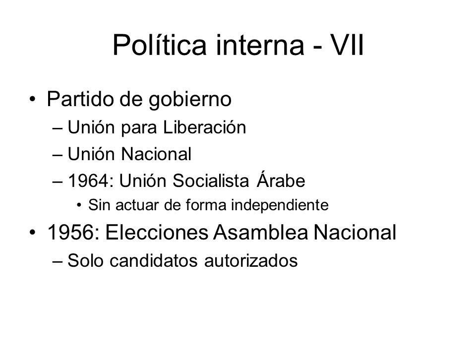 Política interna - VII Partido de gobierno
