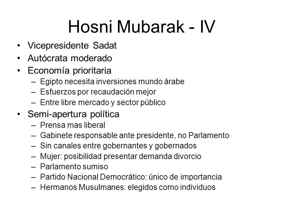 Hosni Mubarak - IV Vicepresidente Sadat Autócrata moderado