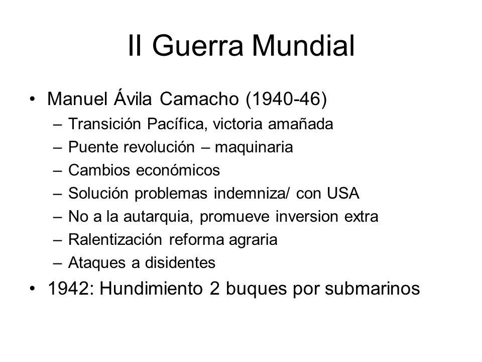 II Guerra Mundial Manuel Ávila Camacho (1940-46)